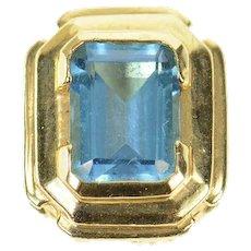 14K Emerald Cut Blue Topaz Slide Bracelet Charm/Pendant Yellow Gold [CXQX]