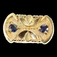 14K Ornate Sapphire Oval Spacer Slide Bracelet Charm/Pendant Yellow Gold [CXQX]
