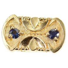 14K Ornate Sapphire Oval Spacer Slide Bracelet Charm/Pendant Yellow Gold [CXQX]