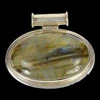 Sterling Silver Oval Natural Labradorite Cabochon Pendant  [CXQC]