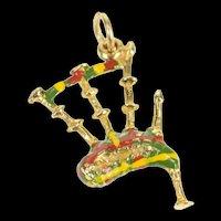 9K Ornate Enamel Scottish Bagpipe Instrument Charm/Pendant Yellow Gold [CXQX]