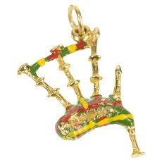 9K Ornate Enamel Scottish Bagpipe Instrument Charm/Pendant Yellow Gold [CXQX]