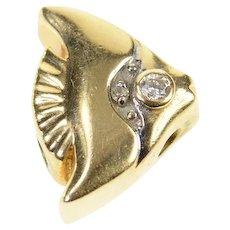 14K Diamond Inset Angel Fish Slide Bracelet Charm/Pendant Yellow Gold [CXQX]