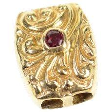 14K Ornate Garnet Scroll Design Slide Bracelet Charm/Pendant Yellow Gold [CXQX]