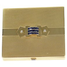 14K 2.82 Ctw Cartier Art Deco Sapphire Diamond Box  Yellow Gold [CXQC]