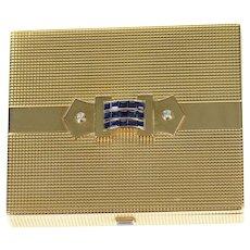 14K 2.82 Ctw Cartier Art Deco Sapphire Diamond Box  Yellow Gold [CXQQ]