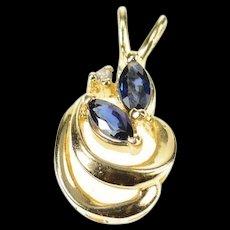 14K Marquise Syn. Sapphire Diamond Accent Curvy Pendant Yellow Gold [CXQC]