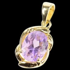 14K Oval Amethyst Solitaire Classic Simple Pendant Yellow Gold [CXQC]