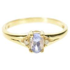 10K Three Stone Oval Tanzanite Diamond Ring Size 5.75 Yellow Gold [CQXQ]
