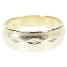 14K Retro Classic Diamond Inset Wedding Band Ring Size 7.5 White Gold [CQXQ]