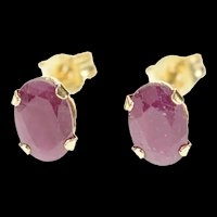 14K Oval Cut Natural Ruby Solitaire Stud Earrings Yellow Gold [CXXR]