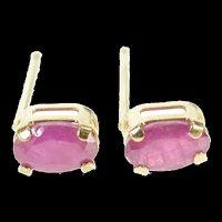 14K Natural Ruby Oval Cut Classic Stud Earrings Yellow Gold [CXXR]