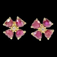 14K Heart Natural Ruby Diamond Cluster Stud Earrings Yellow Gold [CXXR]