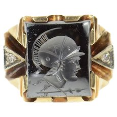 10K 1940's Ornate Carved Hematite Diamond Men's Ring Size 9.25 Yellow Gold [CQXQ]
