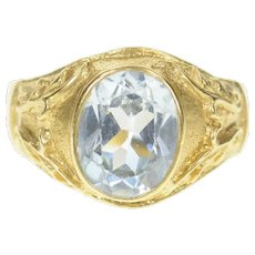 14K Ornate Oval Blue Topaz Scroll Statement Ring Size 7.5 Yellow Gold [CQXQ]