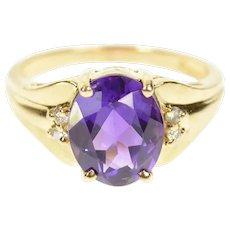 14K Oval Amethyst Diamond Accent Statement Ring Size 6 Yellow Gold [CQXQ]