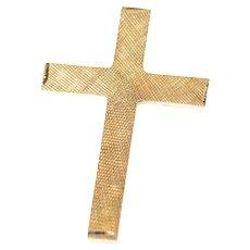14K Crosshatch Textured Pattern Cross Christian Pendant Yellow Gold [CXXR]
