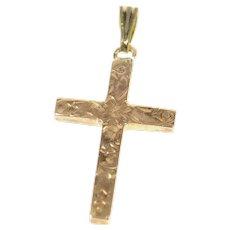 10K Retro Ornate Flower Cross Christian Faith Pendant Yellow Gold [CXXR]