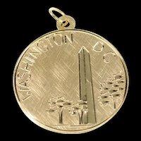 14K Washington Monument D.C. Etched Retro Charm/Pendant Yellow Gold [CXXR]