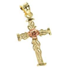14K Black Hills Rose Flower Cross Christian Faith Pendant Yellow Gold [CXXR]