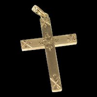 10K Retro Etched Flower Ornate Cross Christian Pendant Yellow Gold [CXXR]