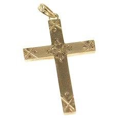 10K Retro Etched Flower Ornate Cross Christian Pendant Yellow Gold [CXXR]