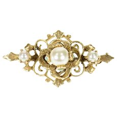 14K Victorian Pearl Turquoise Ornate Scroll Pin/Brooch Yellow Gold [CXQQ]