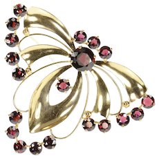 14K Ornate Syn. Garnet Retro Butterfly Moth Pin/Brooch Yellow Gold [CXQQ]