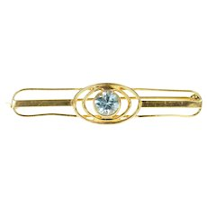 10K Art Deco Round Blue Topaz Bar Pin/Brooch Yellow Gold [CXQQ]