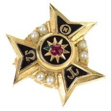 14K Theta Tau Omega Enamel Seed Pearl Lapel Pin/Brooch Yellow Gold [CXXR]