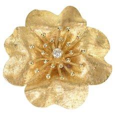 14K Diamond Ornate Retro Cherry Blossom Flower Pendant/Pin Yellow Gold [CXQQ]