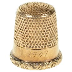 10K Victorian Antique Sewing Accessory Thimble  Yellow Gold [CXQQ]