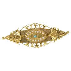 10K Ornate Victorian Turquoise Seed Pearl Bar Pin/Brooch Yellow Gold [CXQQ]