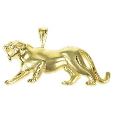 18K Satin Finish Roaring Jaguar Cougar Big Cat Pendant Yellow Gold [CXQQ]