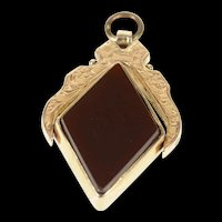 9K Victorian Ornate Carnelian Bloodstone Etched Pendant Yellow Gold [CXXR]