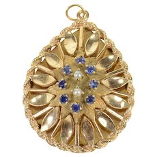 14K 1960's Ornate Syn. Sapphire Pearl Tear Drop Pendant Yellow Gold [CXQQ]