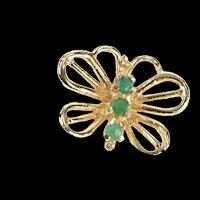 10K Emerald Inset Butterfly Change Symbol Pendant Yellow Gold [CQXQ]