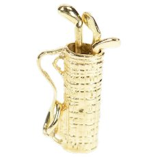14K Articulated Golf Club Bag Golfer Sports Charm/Pendant Yellow Gold [CXXR]