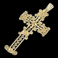10K Ornate Filigree Cross Christian Faith Pendant Yellow Gold [CQXQ]