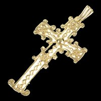 10K Ornate Filigree Cross Christian Faith Pendant Yellow Gold [CXXR]
