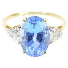 10K Oval Three Stone Syn. Sapphire Trillion CZ Ring Size 10.25 Yellow Gold [CQXQ]