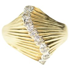 14K Diamond Wave Curvy Graduated Statement Ring Size 6.25 Yellow Gold [CQXQ]