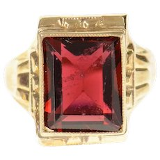 10K 1930's Emerald Syn. Garnet Retro Statement Ring Size 4.5 Yellow Gold [CQXQ]