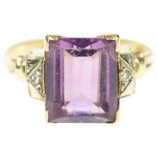 10K 1940's Ornate Amethyst Diamond Accent Ring Size 5.75 Yellow Gold [CQXQ]