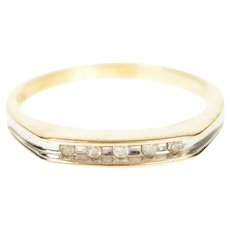 10K Squared Channel Diamond Wedding Band Ring Size 7 Yellow Gold [CQXQ]
