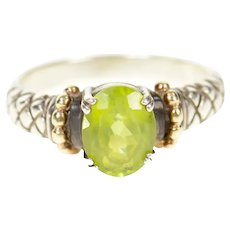 Sterling Silver Peridot Tufted Design Two Tone Statement Ring Size 8.5  [CQXQ]
