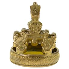 Gold Filled Ornate Wax Stamp Speed The Plow Watch Fob Pendant  [CXXR]