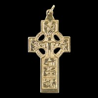 14K Ornate Celtic Motif Elaborate Cross Christian Pendant Yellow Gold [CXXR]