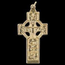 14K Ornate Celtic Motif Elaborate Cross Christian Pendant Yellow Gold [CXQQ]