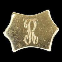 14K R Letter Initial Monogram Slide Bracelet Charm/Pendant Yellow Gold [CXQQ]